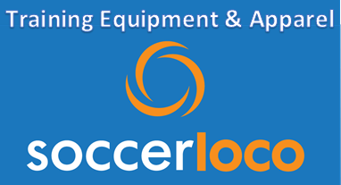 soccerloco logo stacked blue equipment apparel